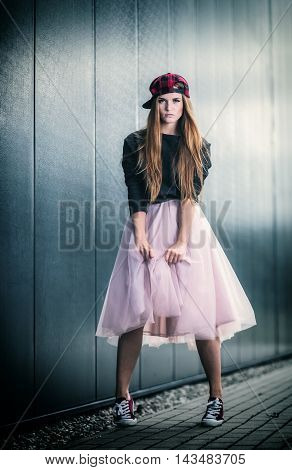 Trendy Beautiful Long Haired Girl Posing, Hip Hop Fashion