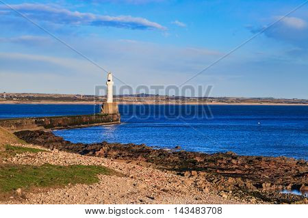 Lighthouse in Aberdeen Scotland on sunny day, United Kingdom