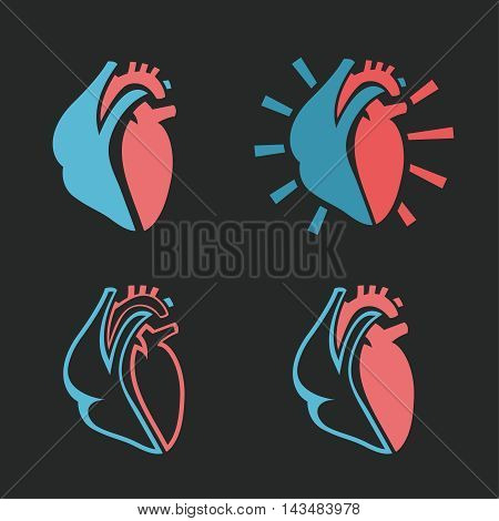 Heart symbols. Useful for sign development, indographics, postcard, leaflet, brochure, print, book and poster graphic design. Beautiful vector collection in pink and light blue colors.