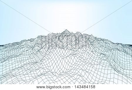 Blue abstract low-poly, polygonal rectangular landscape on a light background for web, presentations, posters and prints. Vector editable illustration. Realistic 3D design vector template.