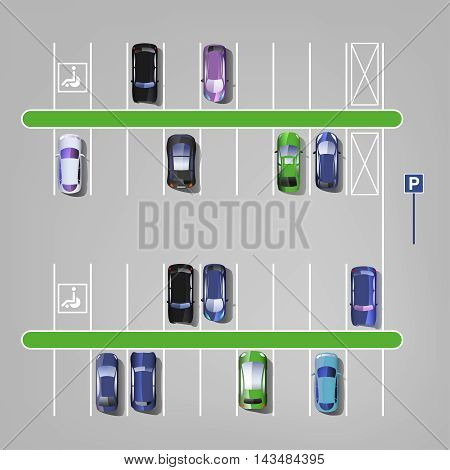 Parking lots with cars vector illustration. Top view. Automotive collection.