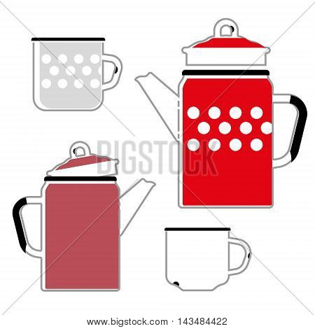 iron red kettle and cup for coffee