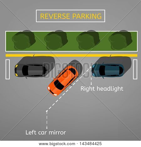 Vector graphic illustration of a top view car reverse parking scheme. Editable automotive collection in a flat simple style. Poster iconic design