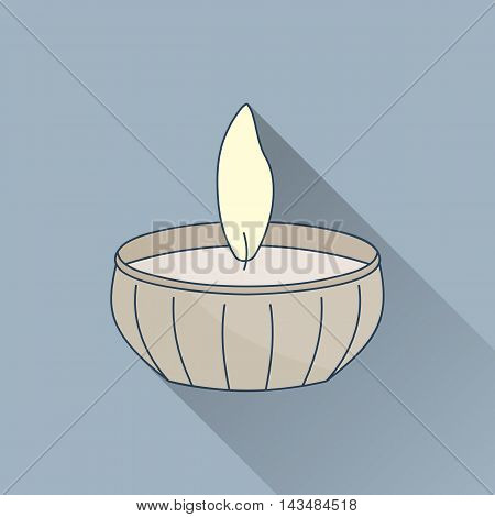 Hand drawn candle. Flat icon with long shadow. Concept for beauty salon massage cosmetic and spa. Isolated high quality vector graphic. Easy to use business template