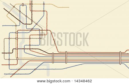 Illustrated map of a generic subway system with copy space