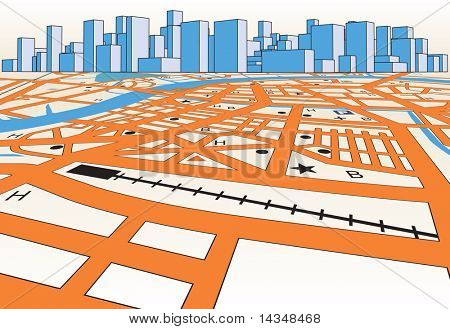 Illustrated streetmap of a generic city plus skyline