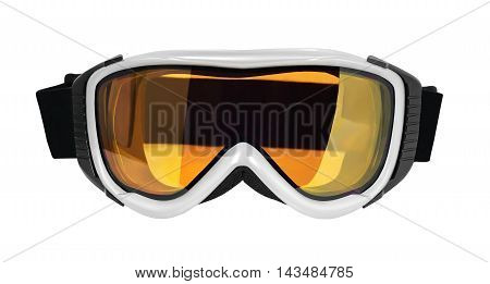 Front view of ski or snowboard goggle isolated on white background