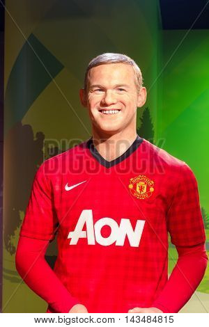 BANGKOK THAILAND - DECEMBER 19: Wax figure of the famous Wayne Rooney from Madame Tussauds on December 19 2015 in Bangkok Thailand