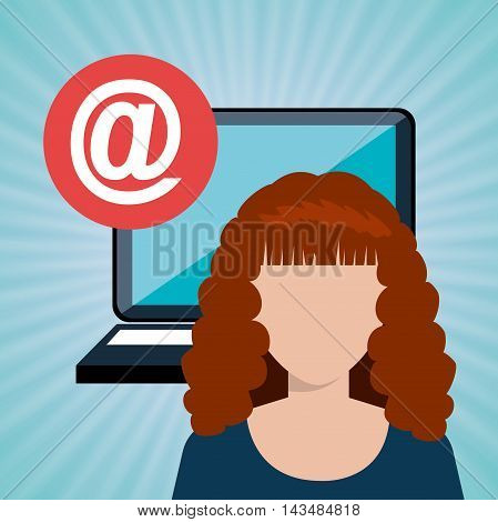 woman laptop email icon vector illustration design