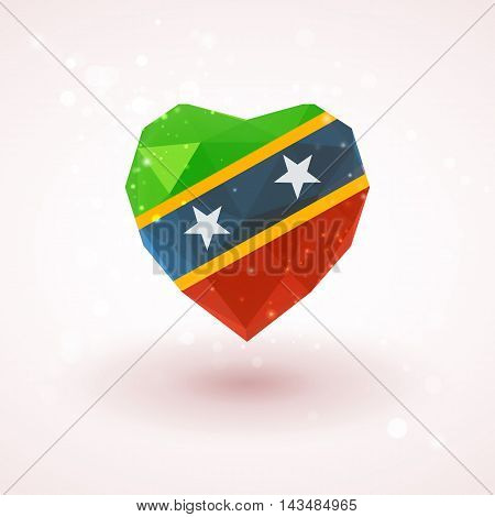 Flag of Saint Kitts and Nevis in shape of diamond glass heart in triangulation style for info graphics, greeting card, celebration of Independence Day, printed materials