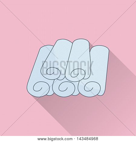 Hand drawn rolled towels. Flat icon colored image with long shadow on pink background.