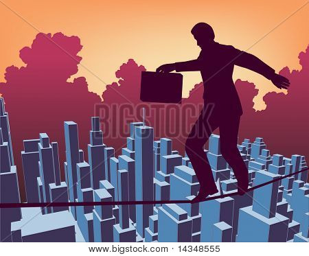 Illustrated outline of a businessman walking a tightrope