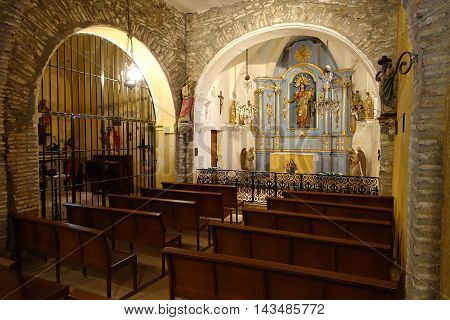 Collioure France - June 14 2016: Interior of theHermitage of Our Lady of Consolation in Collioure is located in the Pyrenees Orientales.