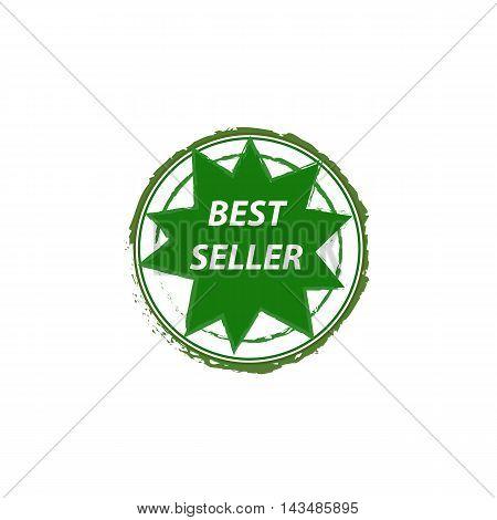 best seller grunge vector stamp in green