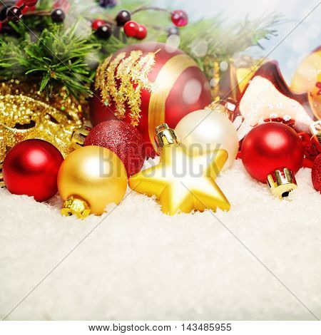 Christmas Decor on White Snow. Bright Xmas Card Background with Copy Space