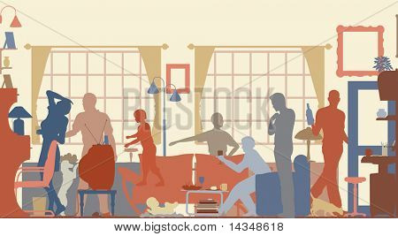 Editable vector silhouettes of a family gathering in a living room
