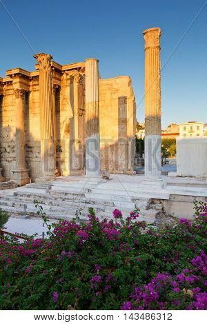Remains of the Hadrian's Library in Plaka in Athens, Greece.