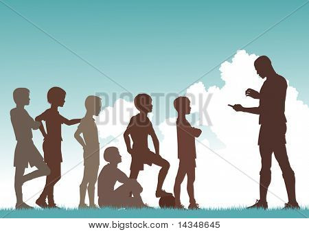 Illustrated silhouette of a man coaching football to children