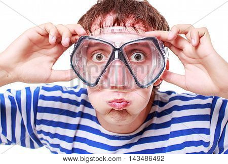 funny guy in a mask for diving. young man wearing stripped vest and a mask for swimming under the water and blew out his cheeks to hold breath for diving. isolated on white background