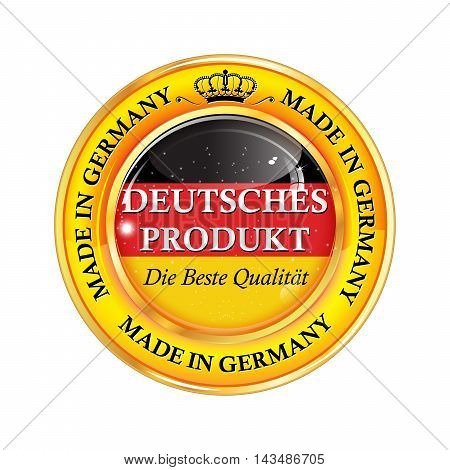 German Product, Best Quality. ( text in German language) Made in Germany  - shiny icon / badge / label  Flag colors