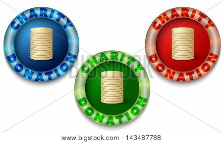 Three icons with color back light and the words charity donation