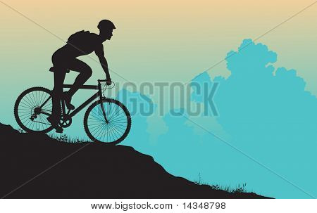 Vector foreground silhouette of a man on a mountain bike