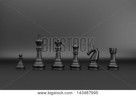 Black chess pieces index on black backgrond 3d render