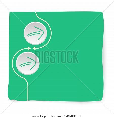 Green slip of paper and green arrows