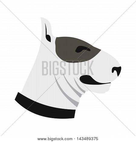 Bull terrier dog icon in flat style isolated on white background. Animals symbol
