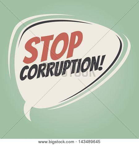stop corruption retro speech balloon