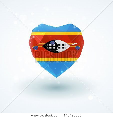 Flag of Swaziland in shape of diamond glass heart in triangulation style for info graphics, greeting card, celebration of Independence Day, printed materials
