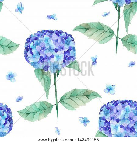 A seamless pattern of the beautiful watercolor blue Hydrangea flowers, painted on a white background