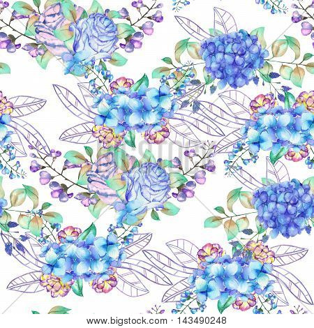 A seamless floral pattern with the bouquets of blue Hydrangea flowers, blue roses and leaves, painted in a watercolor on a white background