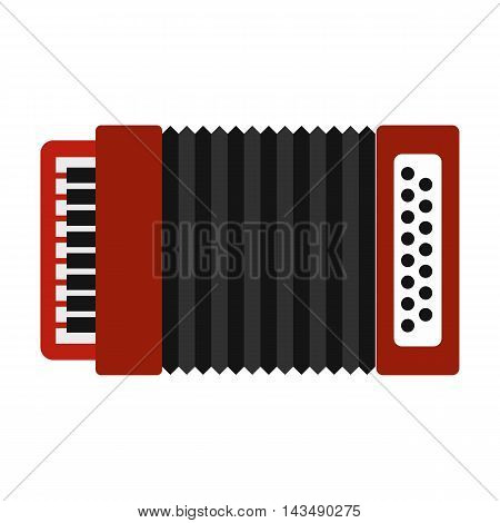 Accordion icon in flat style isolated on white background. Musical instrument symbol
