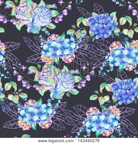 A seamless floral pattern with the bouquets of blue Hydrangea flowers, blue roses and leaves, painted in a watercolor on a dark background