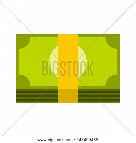 Bundle of money icon in flat style isolated on white background. Cash symbol