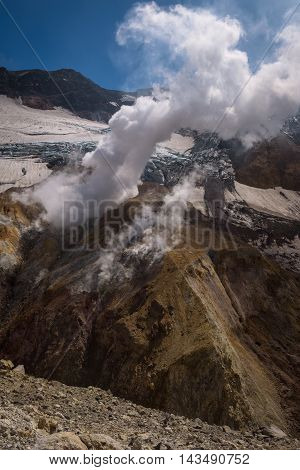 Fumaroles inside the Mutnovsky Volcano crater, Kamchatka, Russia