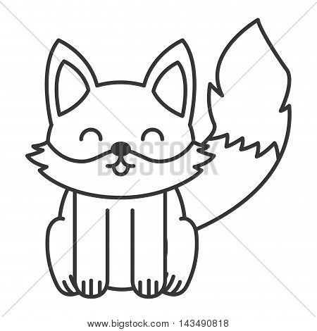 cute fox animal tender isolated icon vector illustration design