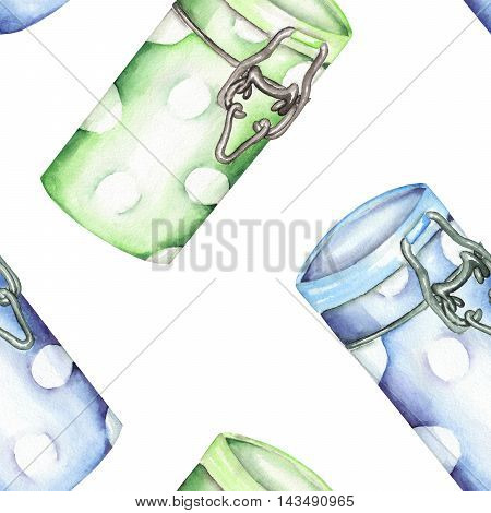 A seamless pattern with the isolated green and blue cans. Painted hand-drawn in a watercolor on a white background.
