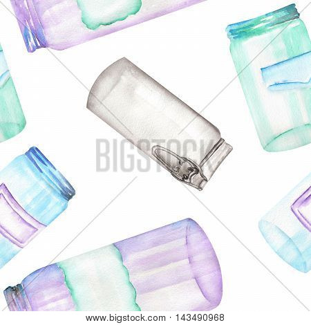 A seamless pattern with the glass jars with stickers. Painted hand-drawn in a watercolor on a white background.