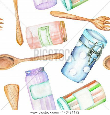An illustration with the isolated wooden kitchenware and cans. Painted in watercolor on a white background.