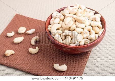 Raw Cashew Nuts For Vegetarian Food In A Wooden Bowl