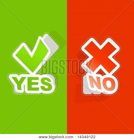 Yes and No. Vector sticker set.