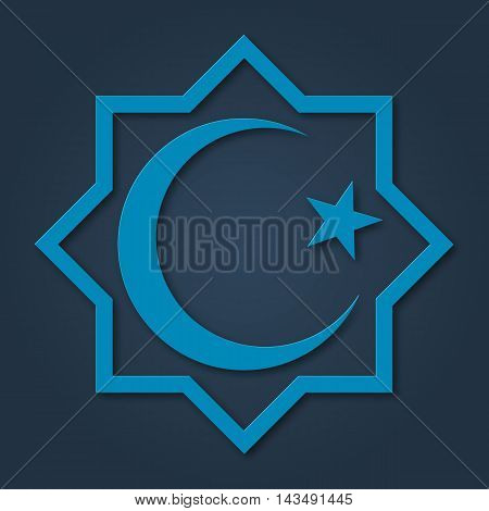 Islam symbol, octagon with crescent and star. Design for islamic festival, holyday