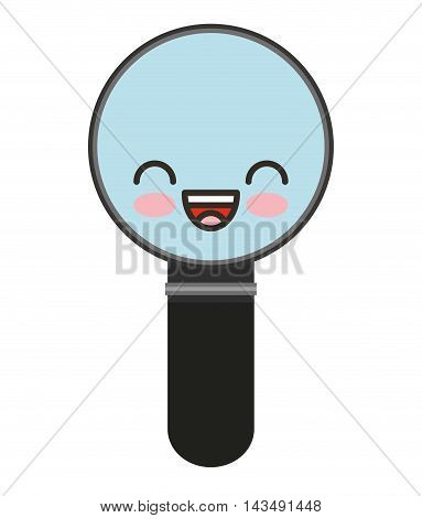magnifying glass character isolated icon vector illustration design kawaii