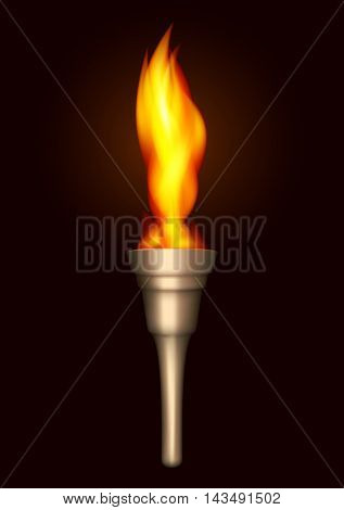 Realistic Burning Torch on a Dark Background. Mesh Gradient and Transparency were used. EPS - 10.