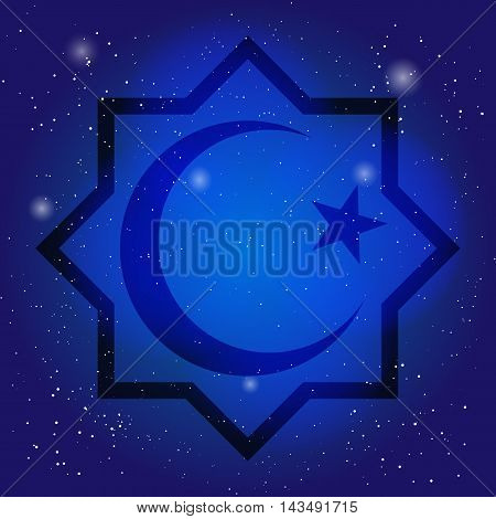 Islam symbol, octagon with crescent and star on the deep blue sky. Design for islamic festival, holyday. Sacral symbol in cosmic background.