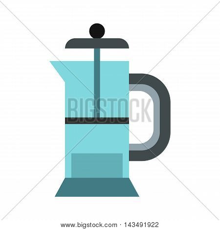 Glass teapot icon in flat style isolated on white background. Dishes symbol