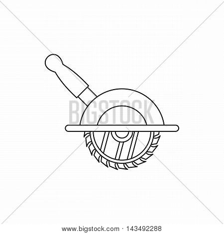 Circular saw icon in outline style isolated on white background
