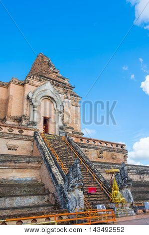 Buddist Pagoda At Wat Chedi Luang,chiang Mai.
